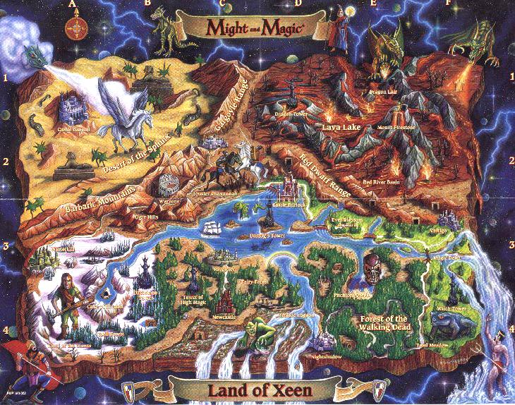 Карта мира Might and Magic 4: Clouds of Xeen